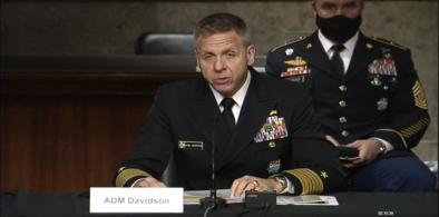 Adm Davidson 0309 ,jpg: Admiral Philip S. Davidson, the commander of the US Indo-Pacific Command speaks at a hearing of the Senate Armed Services Committee on Tuesday, March 9, 2021. (Photo: Senate TV)