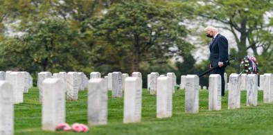 US President Joe Biden visits the Arlington National Cemetery on Wednesday, April 14, 2021, to pay his respects at the graves of US military personnel killed in Afghanistan. (Photo: White House)